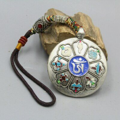 Collectable China Tibet Culture Miao Silver Handwork Carving Good Luck Pendant