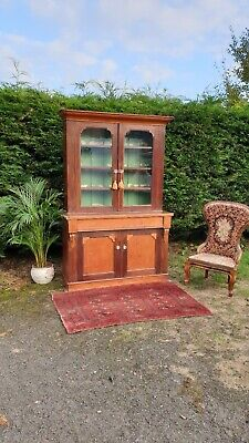 Antique Victorian Glazed 2 Part Bookcase Display Cabinet & Cupboard Delivery Ava