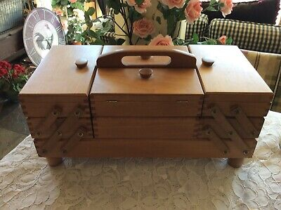 Wooden Maple Sewing Box Expandable Accordian Style Unmarked Made In Poland