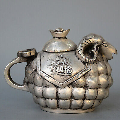 China Daming Years Collection Miao Silver Hand-Carved Sheep Lovely Unique Teapot