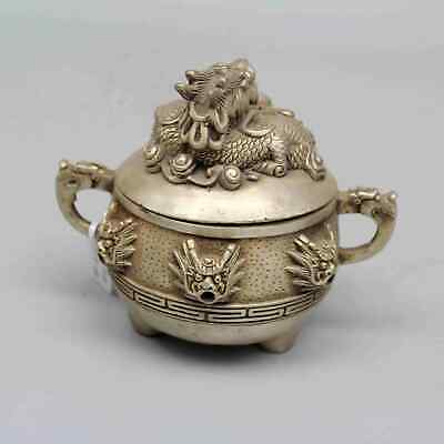 Daqing Years Collection China Old Miao Silver Old Carved Dragon Exorcism Censer