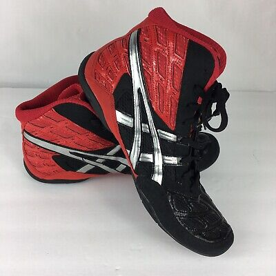 Asics Size 10 Wrestling Shoes Split Second 9 Red Black and Silver J203y EUC