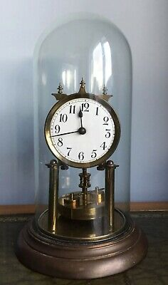 Antique Early 20th Century 400 Day Anniversary Torsion Clock Under Glass Dome