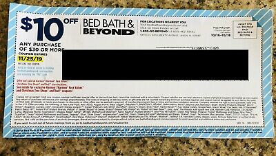 Bed Bath & Beyond ONLINE Coupon $10 Off $30 - Exp 11/25/19