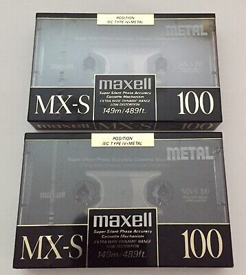 MAXELL MX-S 100 METAL Sealed New Blank Audio Cassette Tape Type IV Lot 2 Tapes.