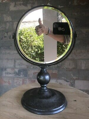 Antique Early Derby Silver Co. Round Silver Plated Swivel Vanity Table Mirror