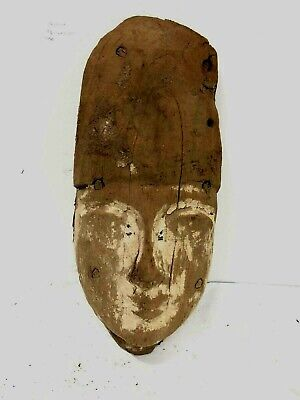 Ancient Egyptian Mummy Wood Mask c.664-332 BC. Size 9 inches high