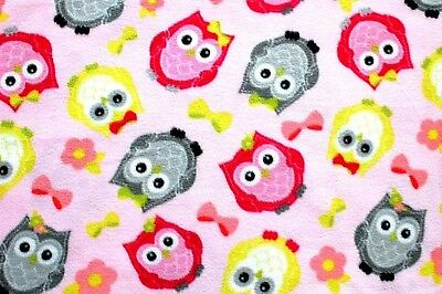 BABY OWLS BIG EYES PINK, GREY & LIME GREEN ON PINK FLEECE FABRIC 1 YD 60x36""