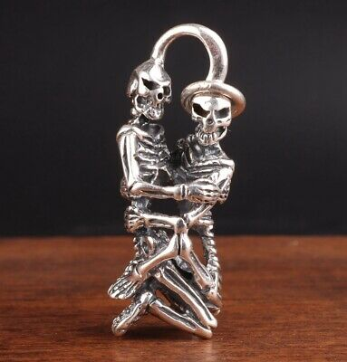 Retro Chinese 925 Silver Pendant Statue Skull Mascot Hand-Made Exorcism Old