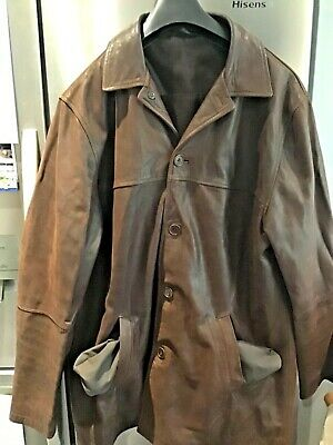 Gents Marks&Spencer Blue Harbour Leather Coat Size L in Brown