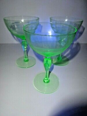 Three Antique Uranium Vaseline Wine Glasses(Grape Design) And Fluted Crystal Set