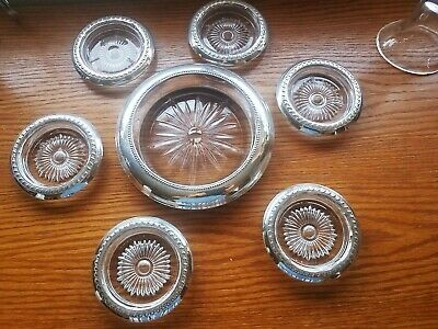 7 pc Set Sterling Crystal Wine &  Champagne Coasters Frank M Whiting & Co & S/C