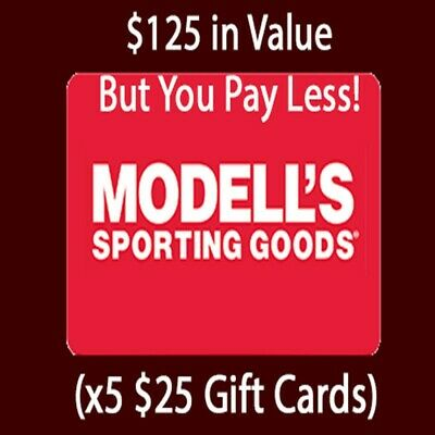 $125 Modell's Sporting Goods Giftcards - (x5 $25 Cards) - GREAT GIFTCARD DEAL!