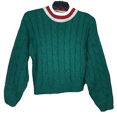 Vintage 90s Lord & Taylor Chunky Cable Knit Basic Pullover Christmas Sweater L