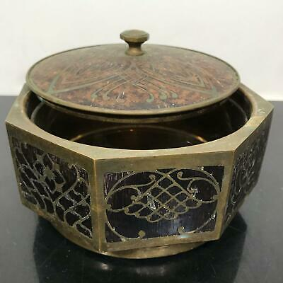 Antique Inlaid Wood & Brass Hexagonal Wafer Communion Box w/Lid