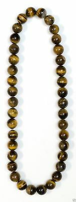 Jewelry016 Estate 38 tiger's beads necklace, bead 17mm, 24-26 inches.  30 grams