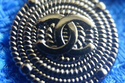 Chanel buttons 24 mm 1 inch Large dark silver black Logo CC metal 3 ps