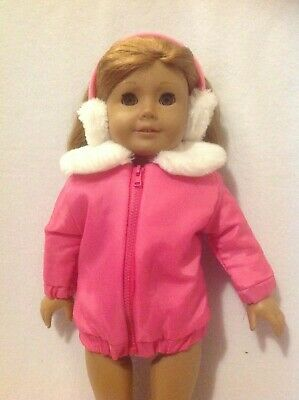"""18"""" American Girl doll/Our Generation pink parka coat earmuffs outfit clothes"""