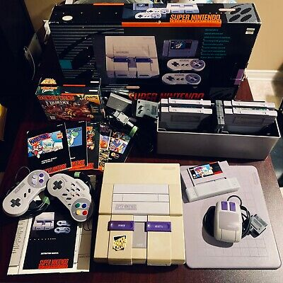 Super NES Nintendo SNES console + 5 Games (incl. Mario Paint) + Cleaning Kit