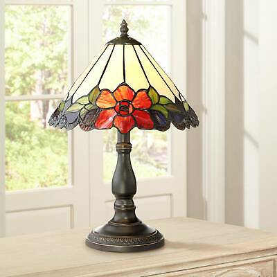 """Tiffany Style Accent Table Lamp 17 1/2"""" Traditional Bronze Floral Glass Bedroom"""