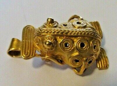 Pre-Columbian Chibchan Tribal Museum Reproduction Fertility Frog Pin/Pendant