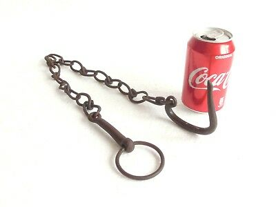 Antique Wrought Iron Ring Hook Chain Hanging Old Tool Kitchen Rustic Barn Farm