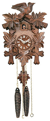 River City Clocks One Day Hand-Carved Cuckoo Clock with Five Maple Leaves & One