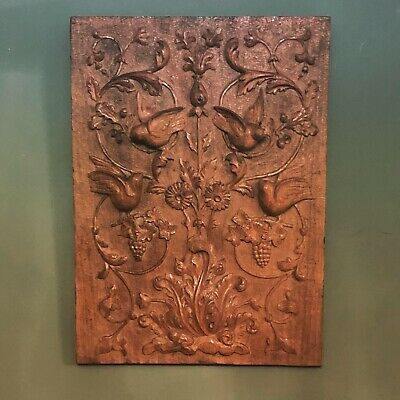 Early 20th C English Victorian Carved Oak Panel Birds Trees Frog Grapes