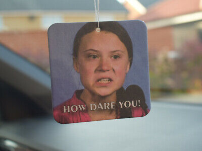 """Greta Thunberg"" How Dare You!! New Car Smell Air Freshener Funny Rude Offensive"