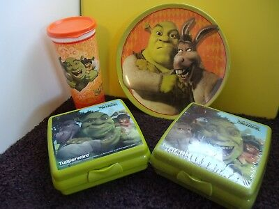Tupperware New Lot 2 Shrek Sandwich Keepers (Holographic).16 oz.Tumbler,Seal ++