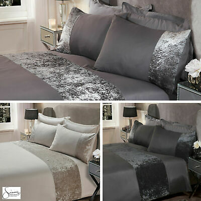 Sienna Crushed Velvet Panel Duvet Cover with Pillow Case Bedding Set 4 Colours