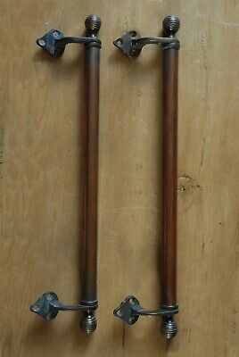 Pair Antique Victorian Window Lifts Brass & Copper Beehive Finials Vintage Sash