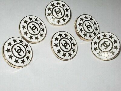 Chanel  buttons  set of 6 sz 18mm lot of 6 WHITE GOLD STARS CC LOGO