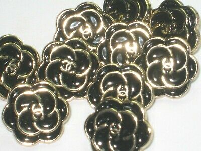 💋💋💋💋💋 Chanel 10 small buttons  12mm lot of 10 black gold CC CAMELLIA