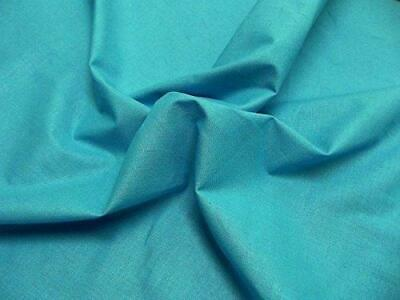 Quality Plain 60 SQ Pure Cotton Fabric Material - TURQUOISE