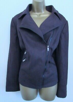 Ewm Isle Ladies Dark Grey Faux Suede Biker Jacket Plus Size 18 Womens