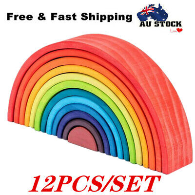12X Wooden Rainbow Building Stacking Blocks Baby Kids Montessori Educational Toy