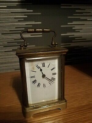 French Brass Carriage Clock with Bevelled Glass & Original Winding Key WORKING