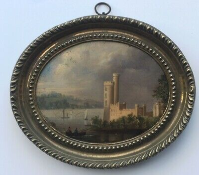 19th Century Original Antique Oil Painting Continental Lake Castle Landscape