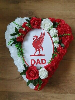 Artificial Flower Funeral Tribute Liverpool Football Funeral Heart Wreath