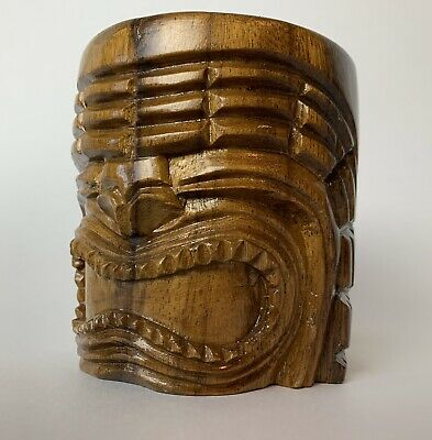 Carved Wooden Tiki Mug with Large Wood Handle KU God Face Brown Bar Accessory