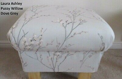 Storage Footstool Laura Ashley Pussy Willow Dove Grey Fabric Pouffe Footstall