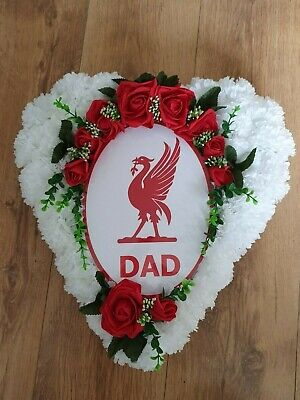 Artificial Flower Tribute Liverpool Football Funeral Heart Wreath Grave