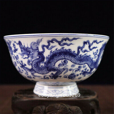 Chinese Blue and white porcelain hand-painted Dragon phoenix bowl w Qianlong Mar