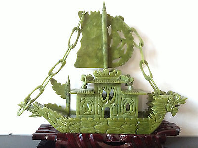 100% Chinese Natural jade Hand-carved Dragon Boat Statues yifanfengshun Rare---