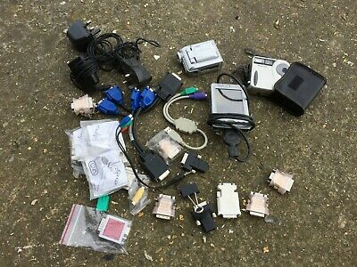 box of assorted tech including Dell AXIM PDA Pocket PC