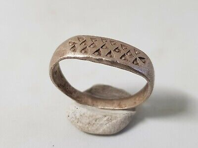 Viking Silver Ring with Triangles  10th-12th Century AD