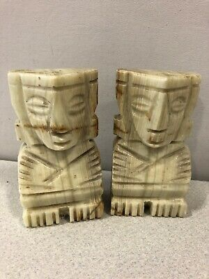 MARBLE ALABASTER STONE EGYPTIAN BOOKENDS Vintage TANS/GREYS/WHITES, hand-carved