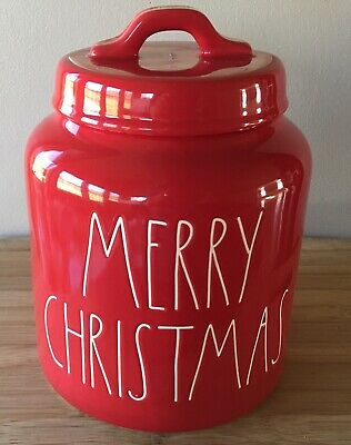 Rae Dunn MERRY CHRISTMAS Canister 2019 Excellent NWT! Free Shipping!