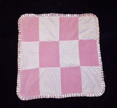 Baby Gear Pink Floral Satin Minky Dot Blanket Patchwork Ruffle Trim Lovey